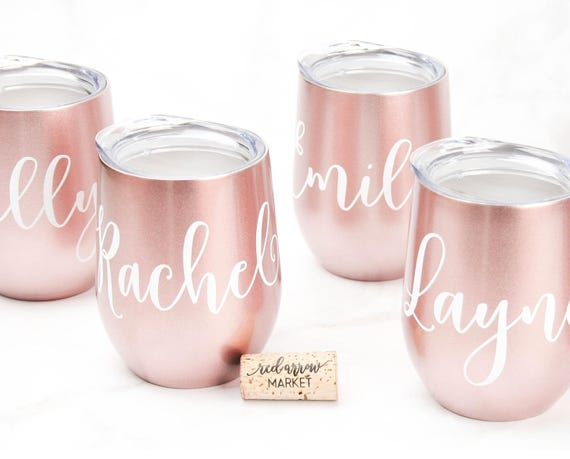 Custom Wine Tumbler Personalized Rose Gold SWIG Stainless Steel Cup with Lid, Wine Lover Gifts, Gift for Wine Drinkers, Stocking Stuffer