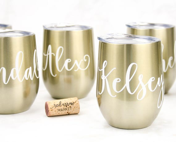 Personalized SWIG Wine Tumbler Custom Personalized Wine Cup 12 oz Stainless Steel Tumbler Bridal Party Favors Bridesmaid Proposal Gift, Gold