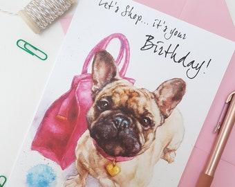 French Bulldog Birthday Card - Personalised Frenchie  Card - Frenchie Card for Her-Dog lover Gift