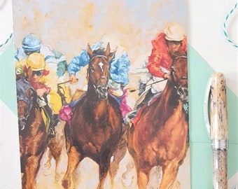 Horse Racing Greeting Card- Racing Birthday Card- Father's Day Card- Horse Blank Card and Notelet
