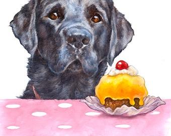 Labrador Birthday Card With Cake