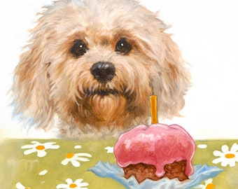 Cockapoo Happy Birthday Card With Cake