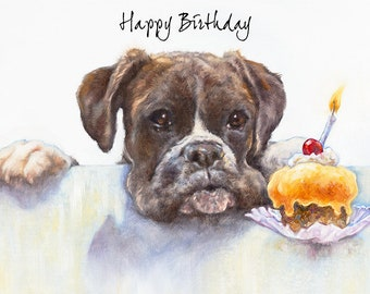 Boxer Dog Birthday Greeting Card Art Funny CardCute