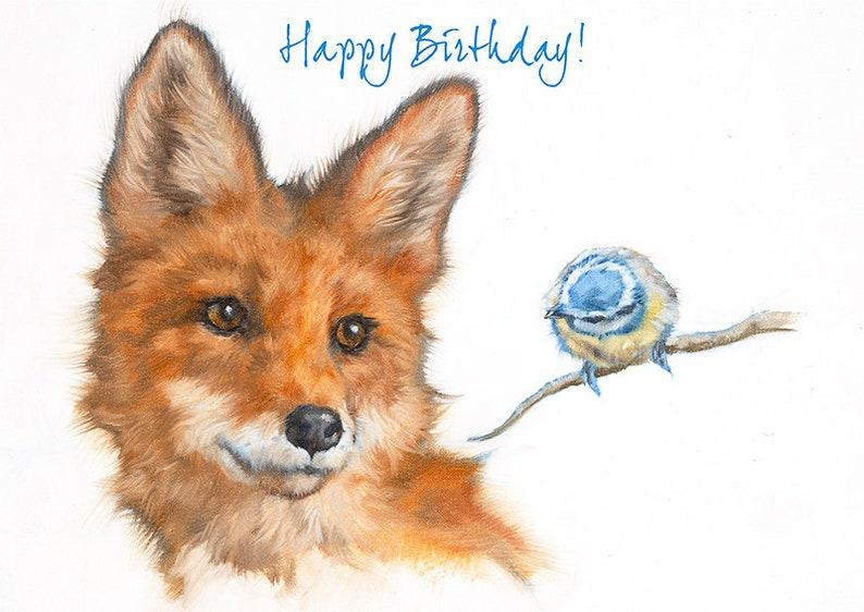 Fox And Bird Birthday Greeting Card Animal Greeting Card