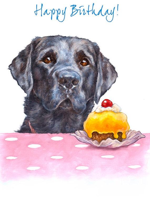 Labrador Birthday Card With Cake Dog Birthday Card Cute Etsy