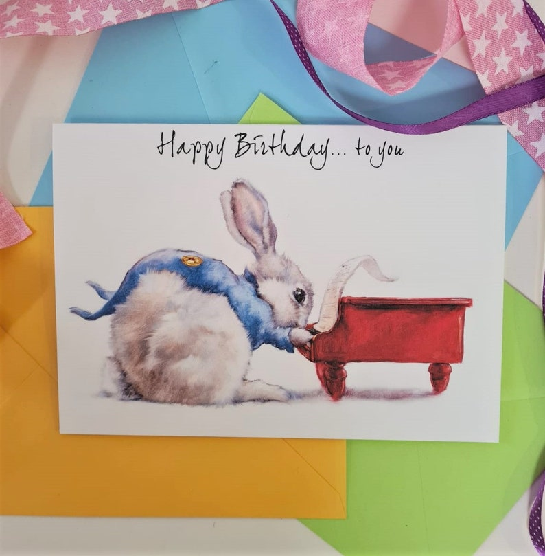 Rabbit Birthday Card Personalised Rabbit Card for Her & Him image 0