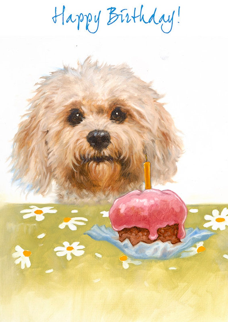 Cockapoo Happy Birthday Card With Cake Fluffy Dog Greeting