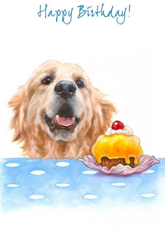 Golden Retriever Birthday Greeting Card Cute Dog Greeting Etsy