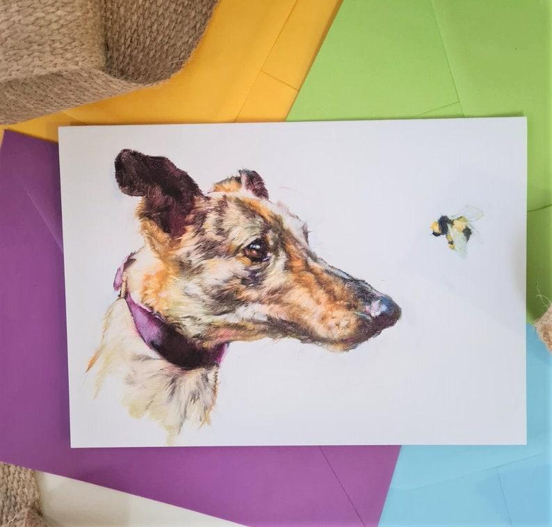 Bee Mine Lurcher Art Card  Personlaised Lurcher Brindle image 0