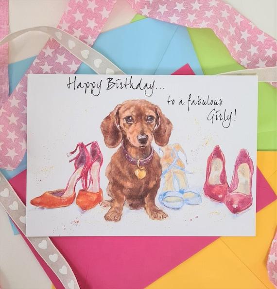 Fabulous Dachshund Birthday Card