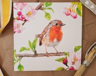 Robin Art Card- Personalised Robin Card - Bird Anniversary Card- Bird Birthday Card for Her & Him- Anniversary Bird and Garden Card