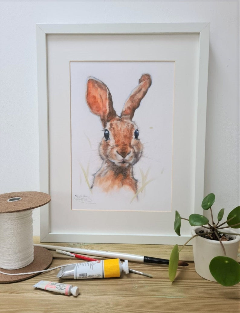 Hare Print Animal Hare Print Hare Gift Easter Gift for Her image 0