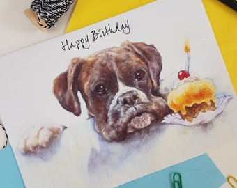 Boxer Birthday Card - Personalised Boxer Greeting Card - Boxer Gift Idea- Dog Birthday Card - Dog Gift