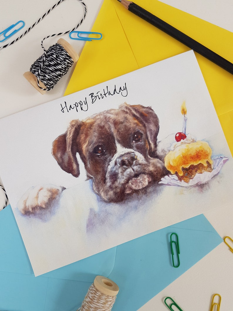 Boxer Dog Birthday Card for Him & Her Love Dog Card Boxer image 0