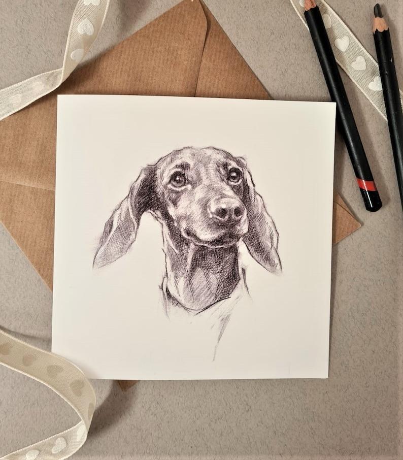 Dachshund Greeting Card  Dachshund Sketch Gift  Sausage Dog image 0