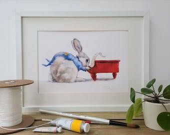 Rabbit Print-Nursery Print-Gift for Children - Easter Present for kids - Childs Bedroom Art-Love Rabbits Print