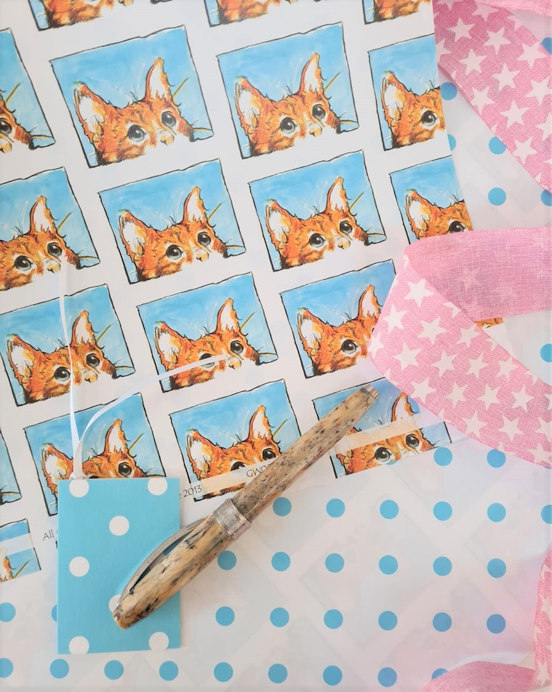 Cat Wrapping Paper Pet Wrapping Paper Ginger Cat Present image 0