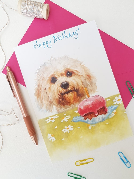 Single Cockapoo Greeting Card Dog Gift//Present Birthday Puppy