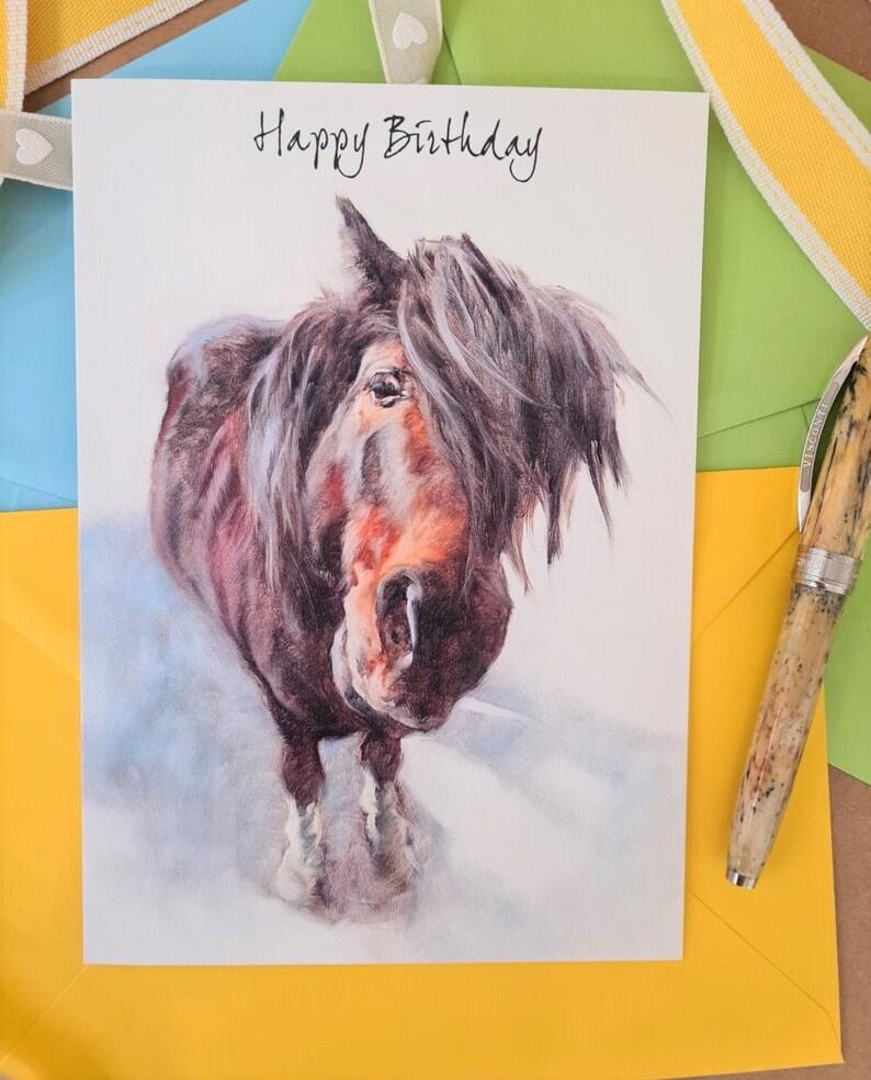 Shetland Pony Birthday Card Animal Birthday Card for Him or image 0