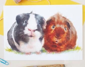 Guinea Pig Greeting Card- Personalised Guinea Pig Birthday Card- Birthday Card- Anniversary Card- Valentine Card