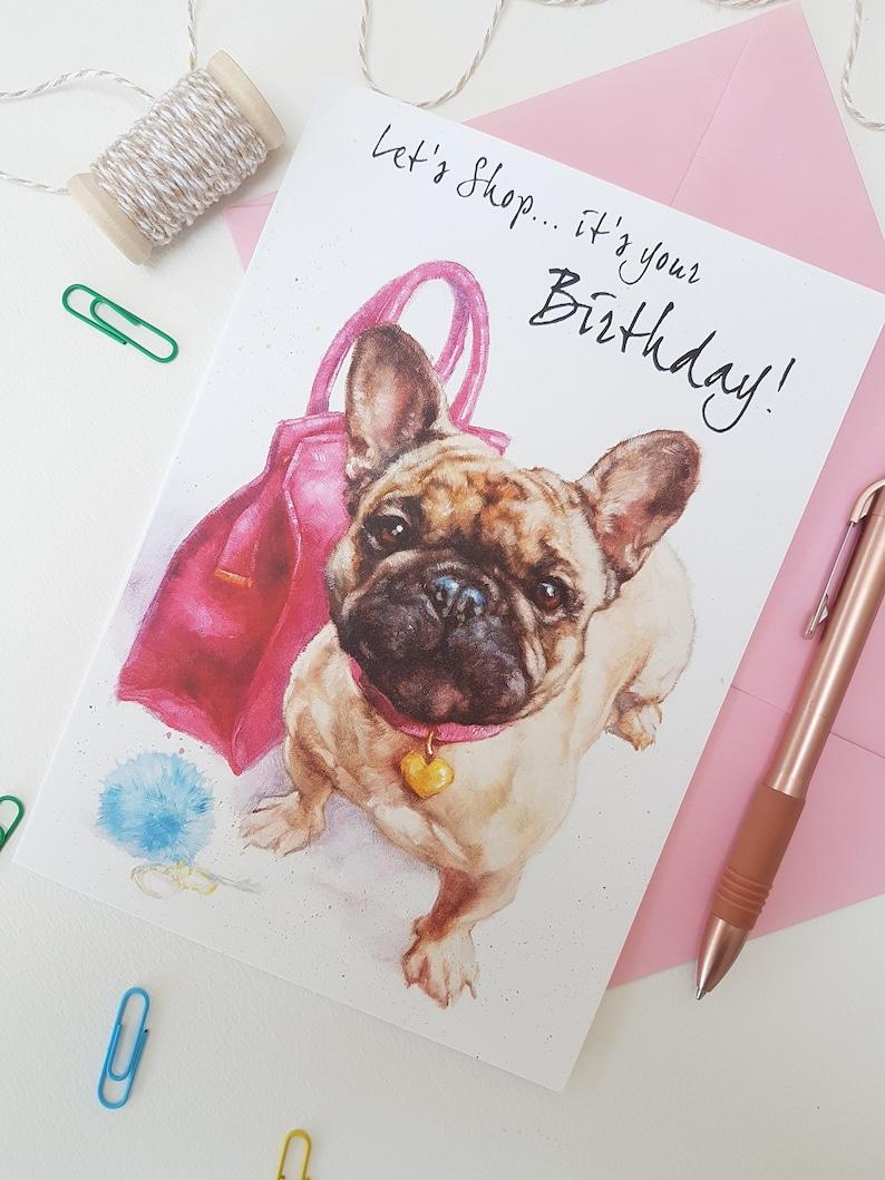 French Bulldog Birthday Card  Personalised Frenchie  Card  image 0