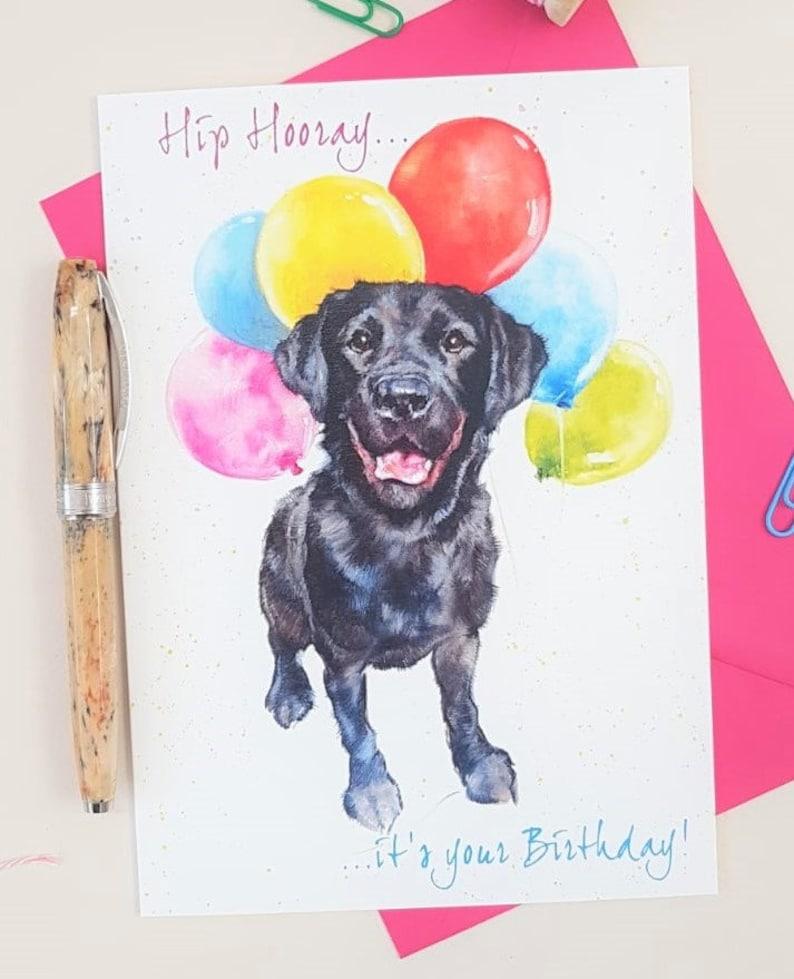 Black Labrador Birthday Card  Personalised Lab Card for Him image 0