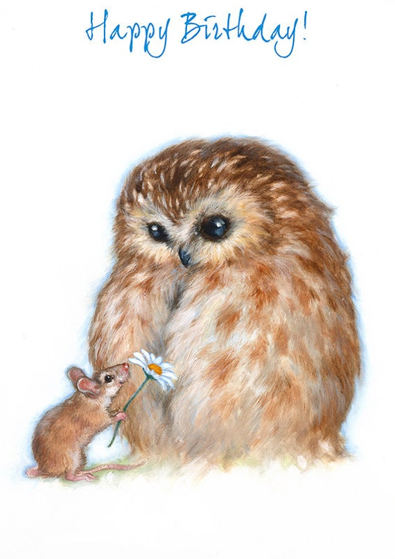 Owl And Mouse Birthday Greeting Card Cute Birthday Card