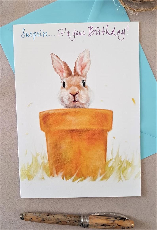 Rabbit Birthday Card Personalised Rabbit Greeting Card  image 0