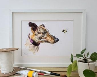Lurcher Print- Lurcher Gift - Dog Gift - Birthday Gift - Anniversary Gift - Fathers Day Dog Gift- Dog Print- Dog Pet Portrait