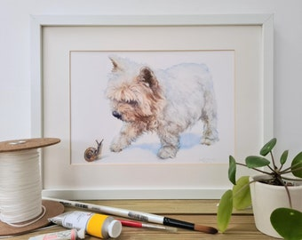Westie Print- Dog Print for Her- West Highland Terrier Gift- Dog Portrait