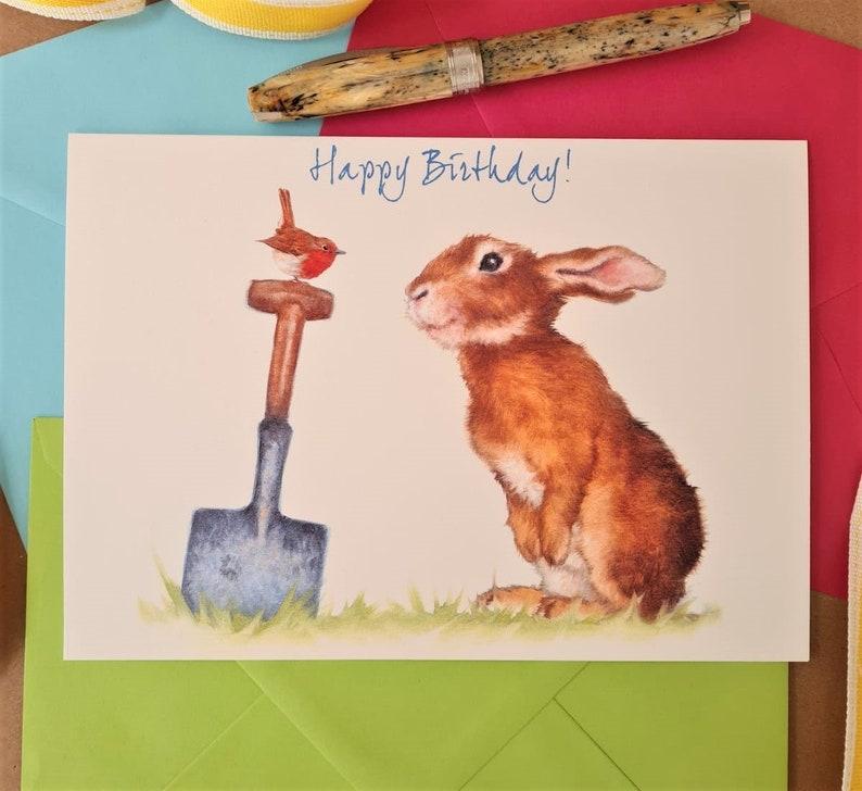 Rabbit  Birthday Card  Personalised Animal Birthday Card for image 0