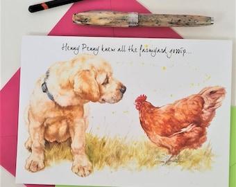 Labrador Art Card- Funny Dog Birthday Card- Farm Yard Dog Card- Lab Thank You Card- Lab Birthday Card