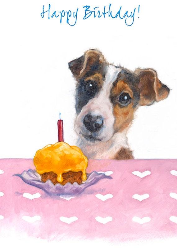 Jack Russell Happy Birthday Greeting Card Terrier Birthday Etsy