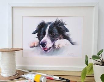 Collie Print- Collie Dog Gift -Dog Print for Him- Farm Yard Print- Pet Portrait