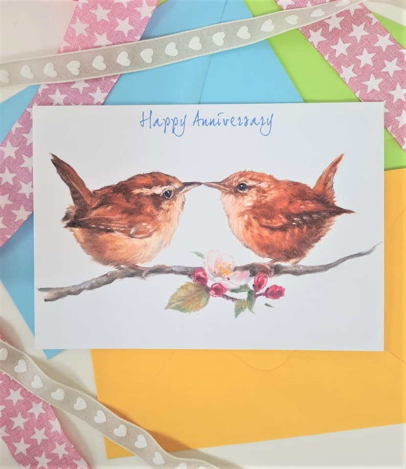 Anniversary Wren Cute Greeting Card  Bird Anniversary card  image 0