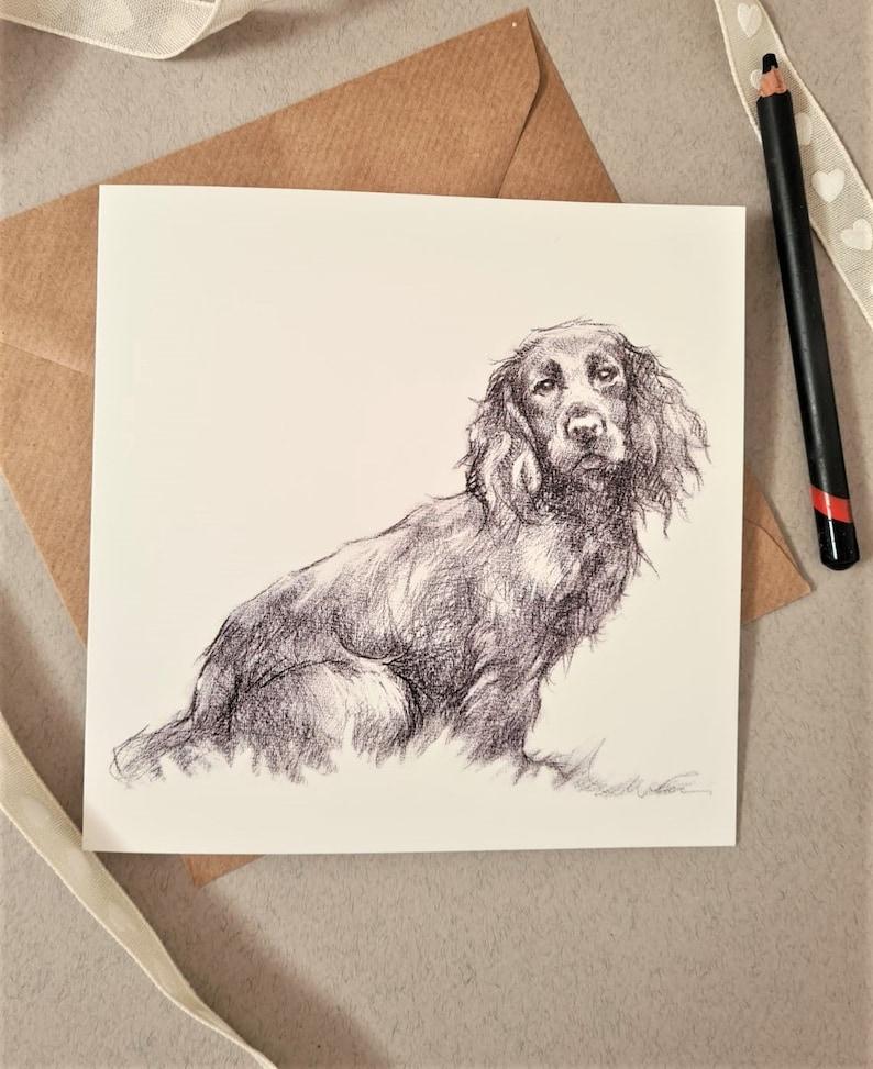 Spaniel Art Card  Personalised Spaniel Sketch Greeting Card  image 0