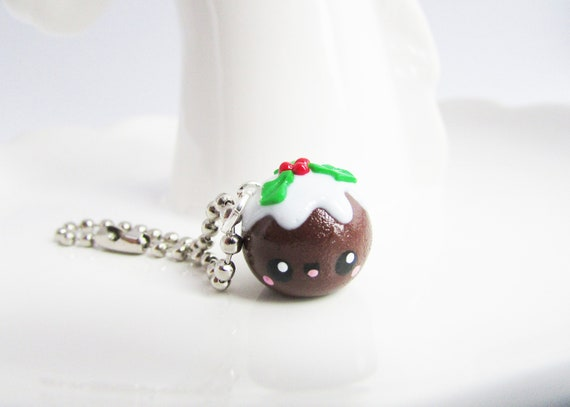 Cute Christmas Pudding Charm, Polymer Clay knitting and crochet marker