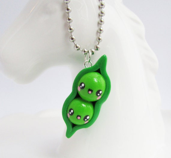 Two Peas in a Pod Kawaii Polymer Clay Charm