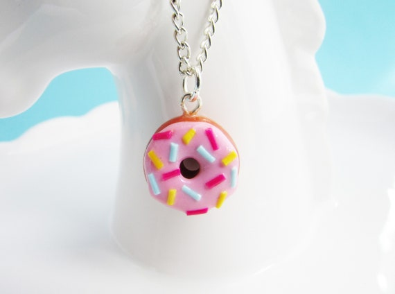 Polymer Clay Pink Donut Necklace
