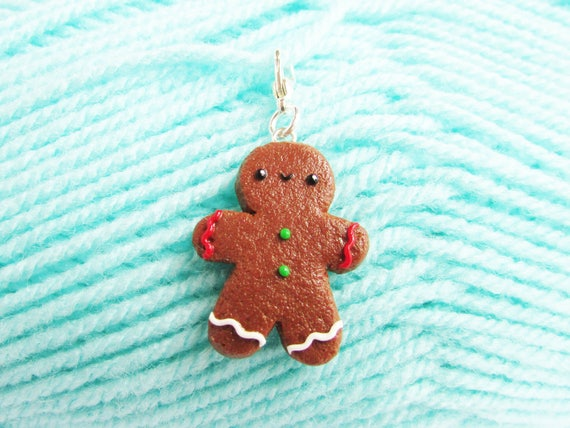 Cute Polymer Clay Gingerbread Man Charm