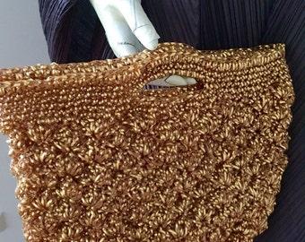 Vintage handbag, gold handbag,  plastic nylon wires bag ,Japanese handmade handbag, evening purse