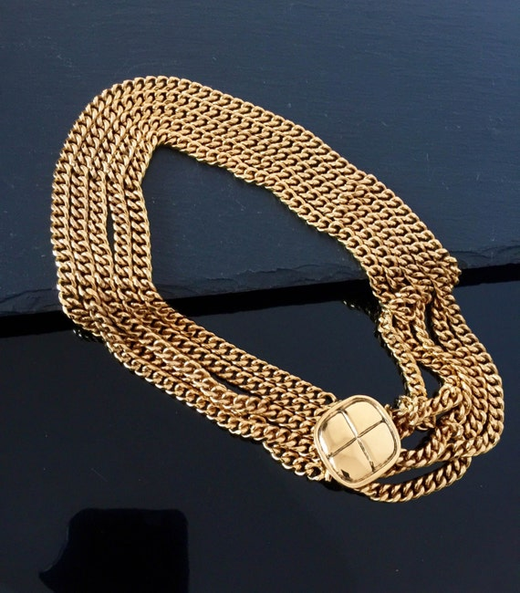 Authentic Chanel necklace, Vintage Chanel gold nec