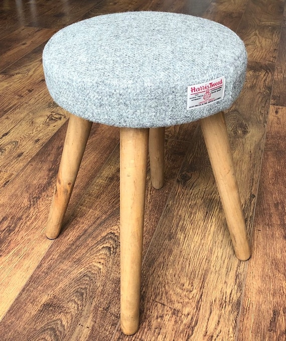 Super Grey Harris Tweed Dressing Table Stool With Rustic Wooden Legs Pabps2019 Chair Design Images Pabps2019Com