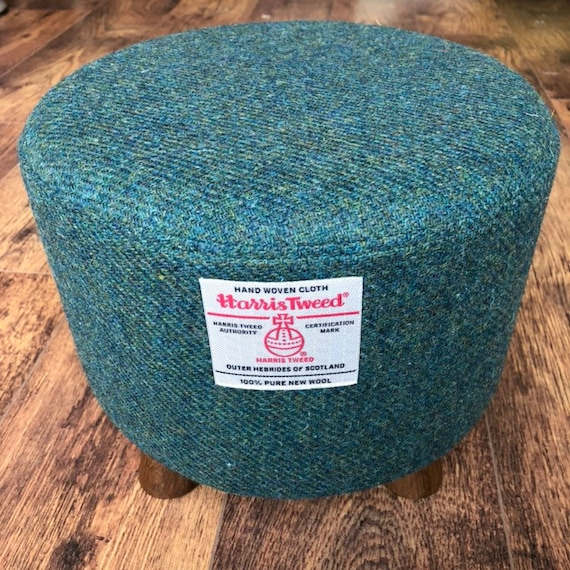 Marvelous Small Green Footstool Harris Tweed With Dark Rustic Wooden Legs Squirreltailoven Fun Painted Chair Ideas Images Squirreltailovenorg