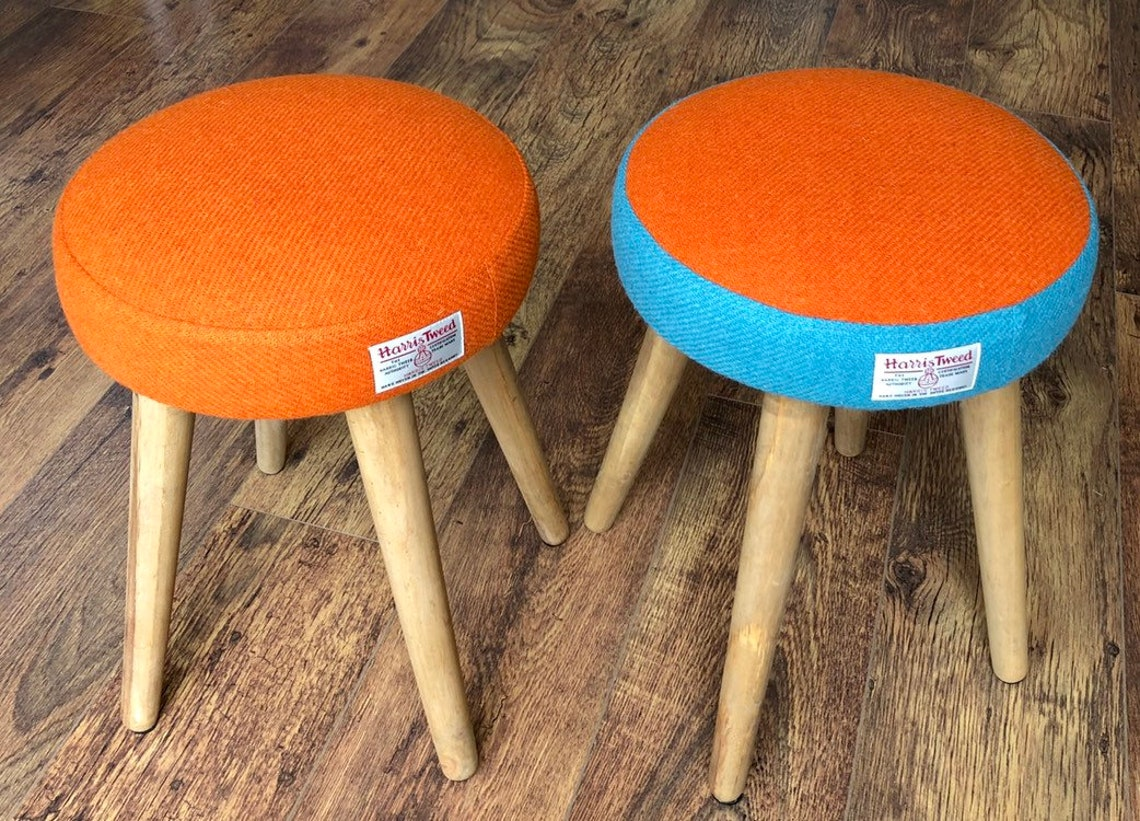 Dressing Table Stool: Orange & Blue Harris Tweed with Rustic Wooden Legs