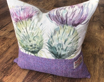 Scottish Watercolour Thistle & Harris Tweed Cushion