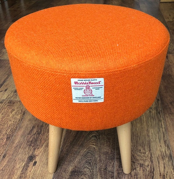 Groovy Upholstered Footstool Round Large Orange Harris Tweed Machost Co Dining Chair Design Ideas Machostcouk