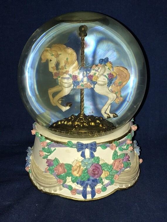 San Francisco Music Box Carousel Horse Snow Globe 1996 Clair Etsy