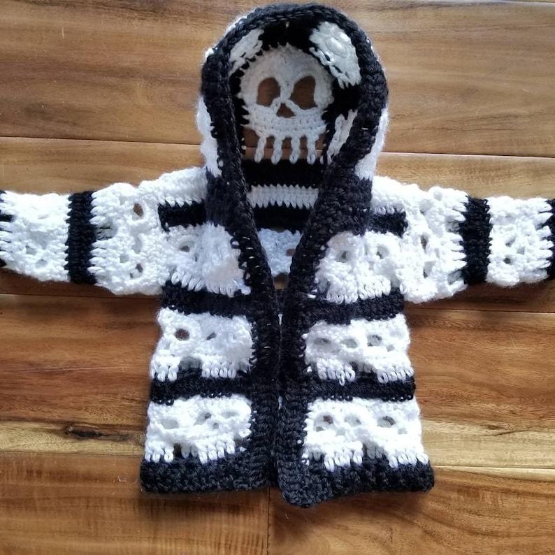 307c239d7bb8 Crochet baby skull sweater newborn baby boy baby girl baby