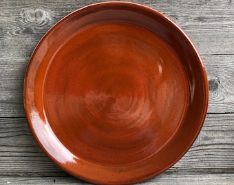 Pottery Dinner Plate on dark clay made to order
